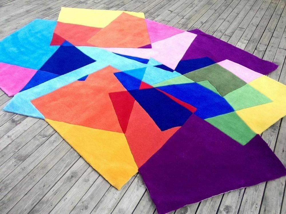 handmade shaped rug carpet colorful for living
